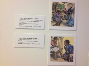 A display of illustrations from a Caribbean retelling of Cinderella
