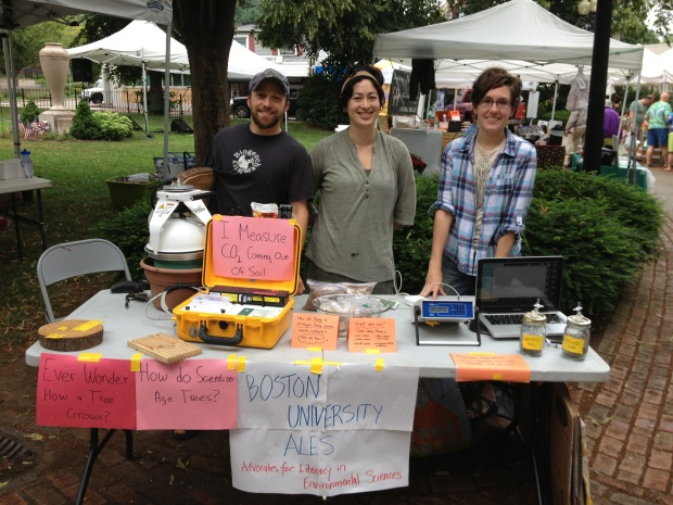 Three of the ALES with their scientific tools at the Roslindale Farmers' Market
