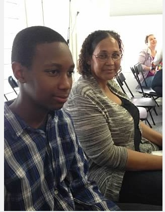 Quddus and his mother, Filomena, attend his Young Adult Writing Program Orientation at Grub Street.