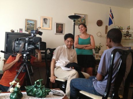 The NHK crew records Quddus' verbal reflections on Malala's speech.