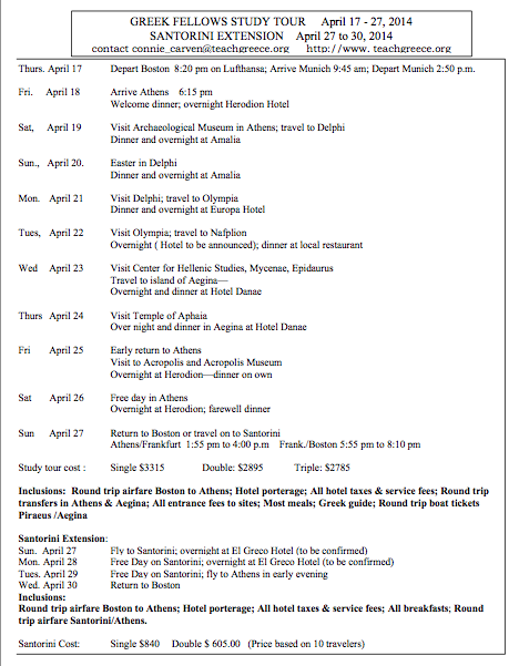 Itinerary for 2014 Study Tour