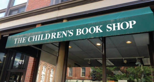 The awning of The Children's Book Shop in Brookline Village, Massachusetts