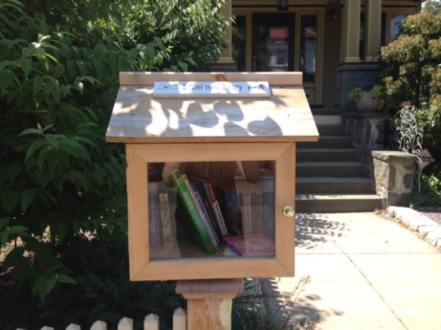 The Little Free Libary at 40 Pond Street, Jamaica Plain, Massachusetts