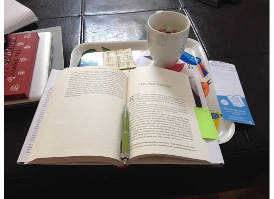 My Reading Ritual: Coffee, Post-Its, and Brookine Booksmith Bookmark on My IKEA Bird Tray