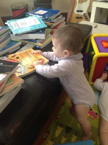Francine climbs up to books